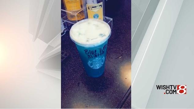 Blue Lives Matter Starbucks drink with bleach