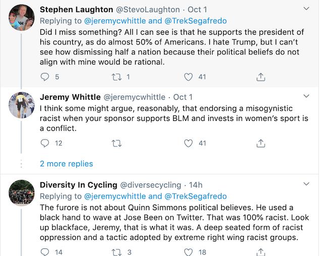 Quinn Simmons twitter black hand suspension