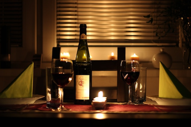 Romantic evening in a hotel