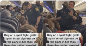 Spirit airlines female passenger lights cigarette on plane booted off