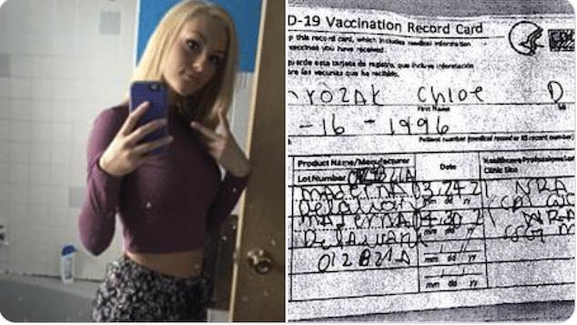 Chloe Mrozak Oak Lawn Illinois woman arrested using fake vaccination COVID-19 card