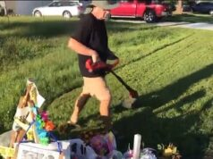 Brian Laundrie father mows lawn